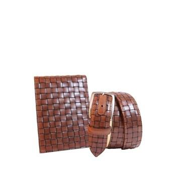 portafoglio+cintura pelle intrecciata valpel