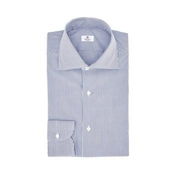 Oriali-camicie-camicia-uomo-popeline-quadretto-bianco-blu-navy